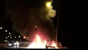 Cenaze taşıyan otobüs alev alev yandı